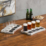 Whitewashed Wood Beer Flight Tray with Chalkboard Labels, Set of 2