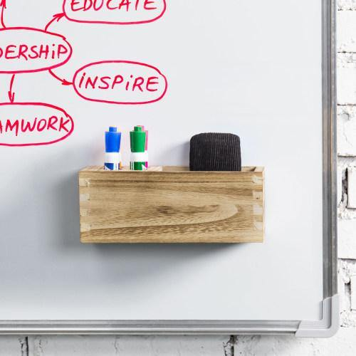 Magnetic Light Brown Wood Dry Erase Storage Rack
