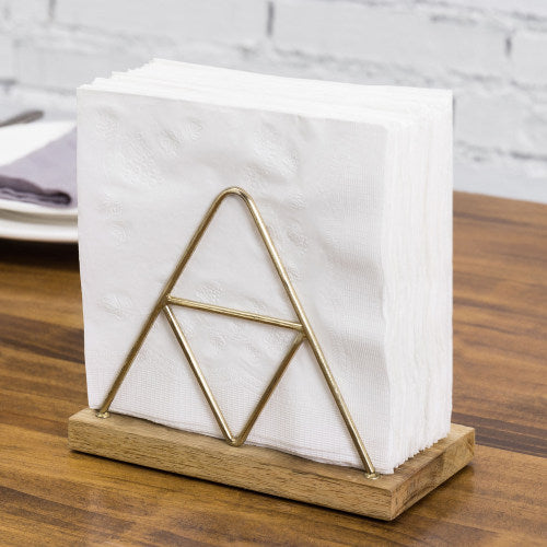 Triangle Napkin Holder w/ Brass Metal & Mango Wood-MyGift