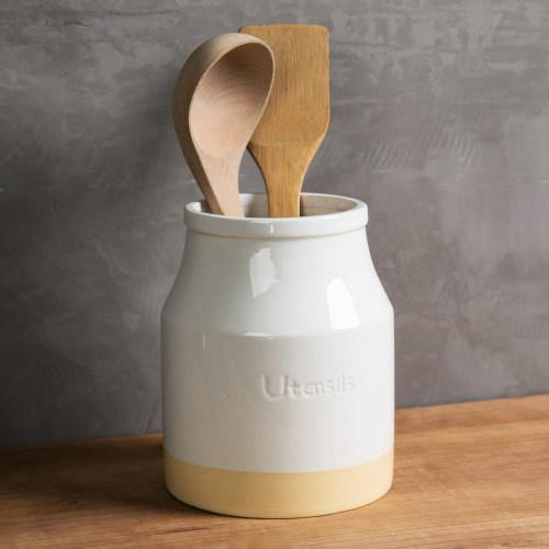 White & Brown Ceramic Kitchen Utensils Crock Holder