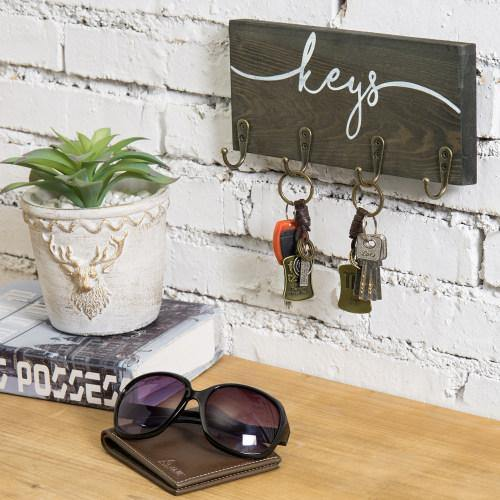 Rustic Gray Wood Key Rack with Hooks-MyGift