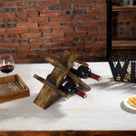 Rustic Brown Wood Countertop Wine Rack