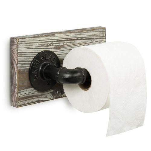 Torched Wood and Industrial Pipe Toilet Paper Holder