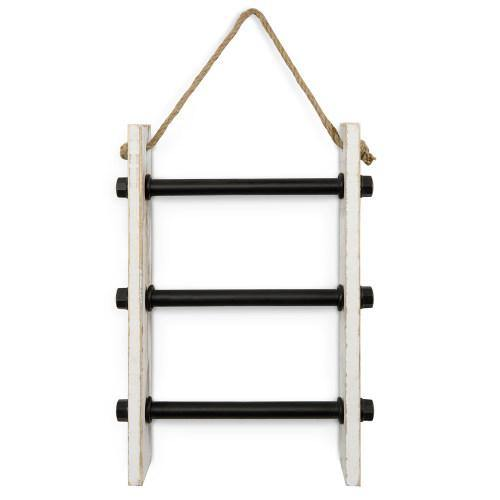 Wall-Hanging Industrial Pipe & Whitewashed Wood Hand Towel Ladder - MyGift