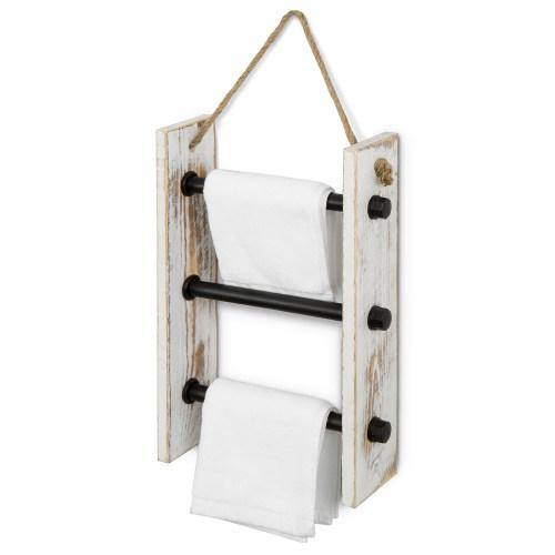 Wall-Hanging Industrial Pipe & Whitewashed Wood Hand Towel Ladder-MyGift