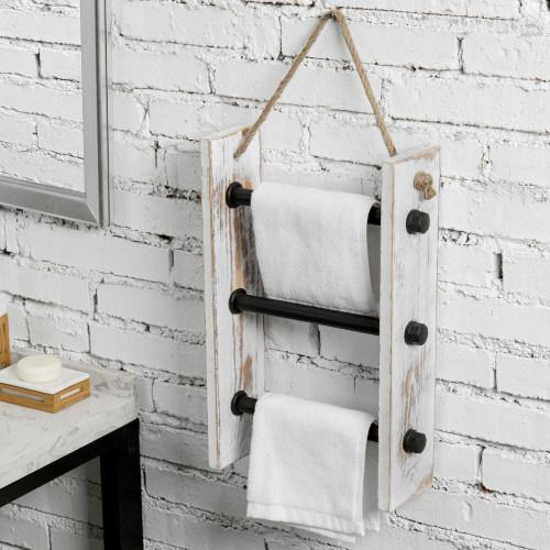 Wall-Hanging Industrial Pipe & Whitewashed Wood Hand Towel Ladder