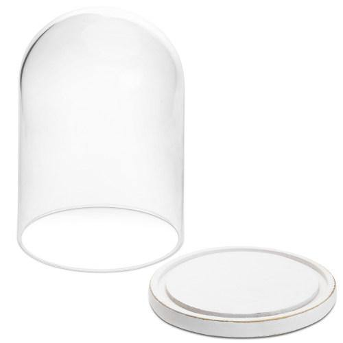 Clear Glass Cloche with White Wood Base-MyGift