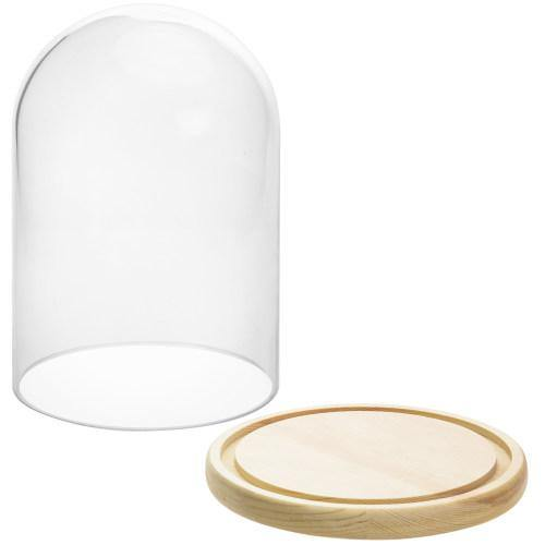 Clear Glass Cloche with Beige Wood Base-MyGift