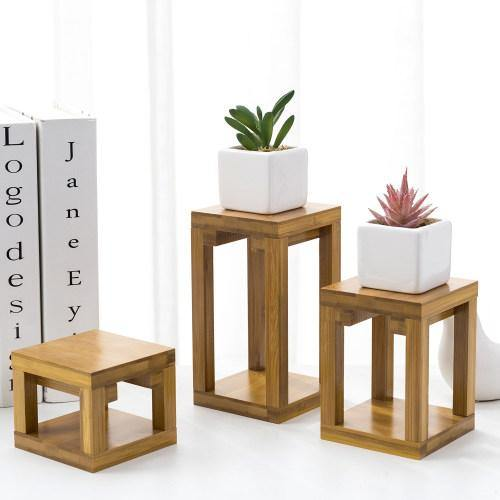 Retro Beige Bamboo Flower Pot Stand, Set of 3 - MyGift