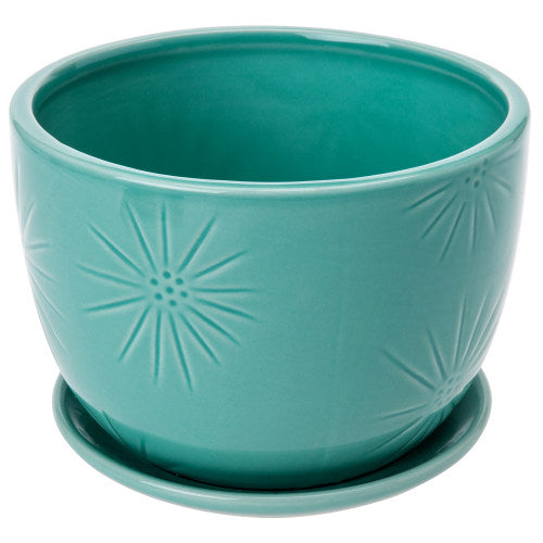 Aqua Blue Sunburst Ceramic Pot w/ Saucer