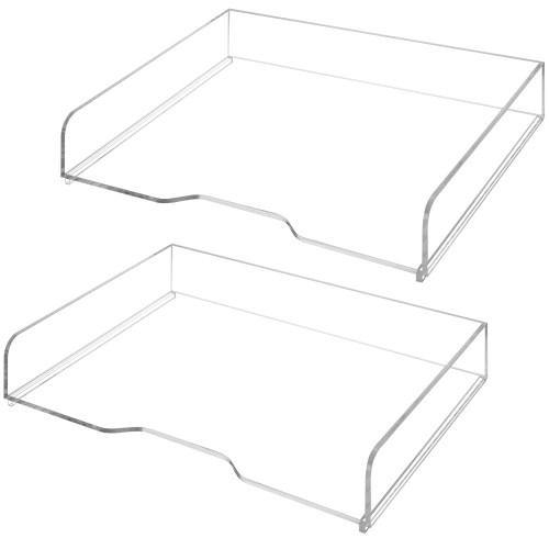Clear Acrylic Stacking Desktop Document Trays, Set of 2-MyGift