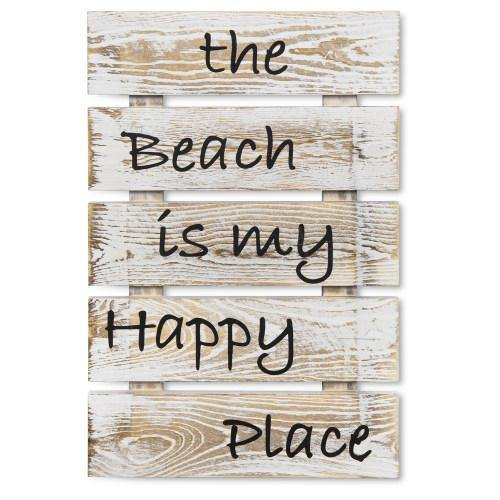 "Shabby Whitewashed Wood Sign: ""The Beach is My Happy Place"""