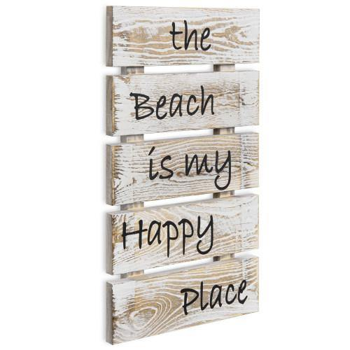 "Shabby Whitewashed Wood Sign: ""The Beach is My Happy Place""-MyGift"