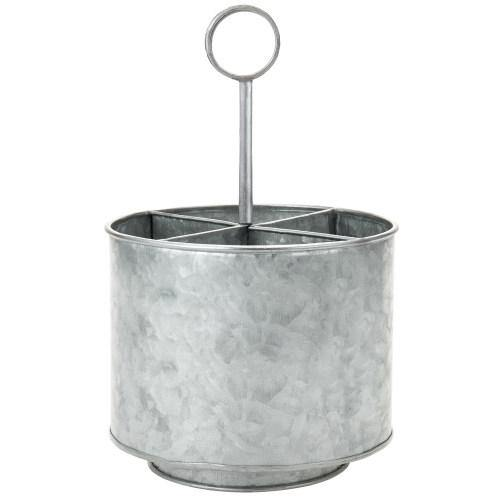 Galvanized Silver Metal Flatware Server Caddy-MyGift