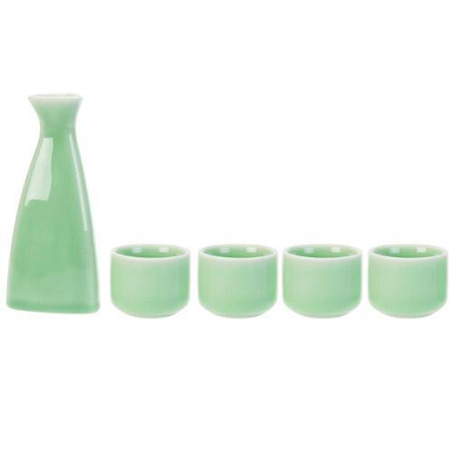 Japanese Style Jade-Color Ceramic Sake Set with Carafe and 4 Cups - MyGift