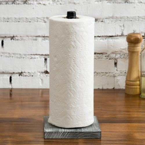 Paper Towel Roll Holder with Rustic Gray Wood Base and Industrial Pipe Design-MyGift