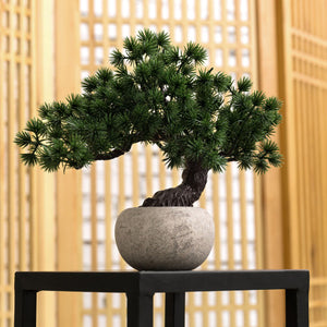 Artificial Bonsai Tree w/ Round Gray Paper Pulp Planter