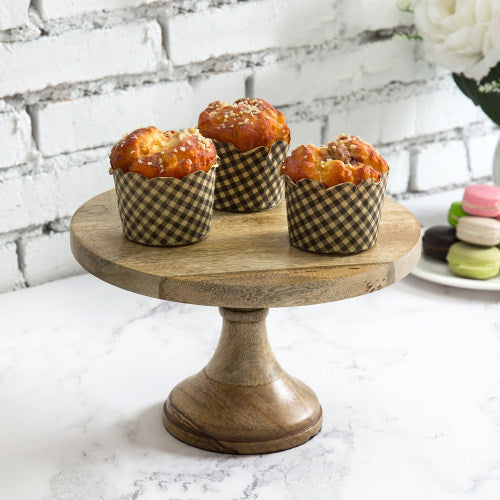 10 Inch Solid Mango Wood Round Cake Stand-MyGift