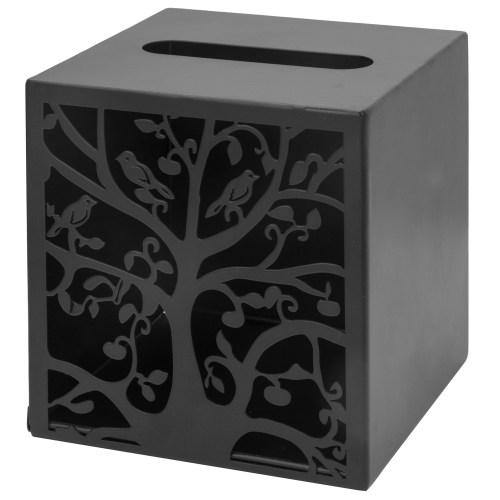 Black Metal Tree & Bird Design Tissue Box Cover-MyGift