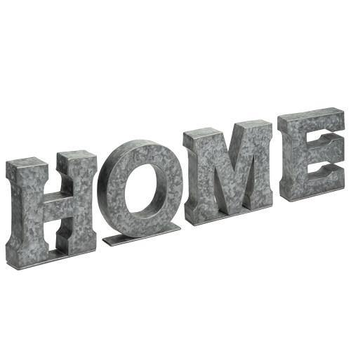 Galvanized Silver Metal Cutout Letters Sign HOME-MyGift