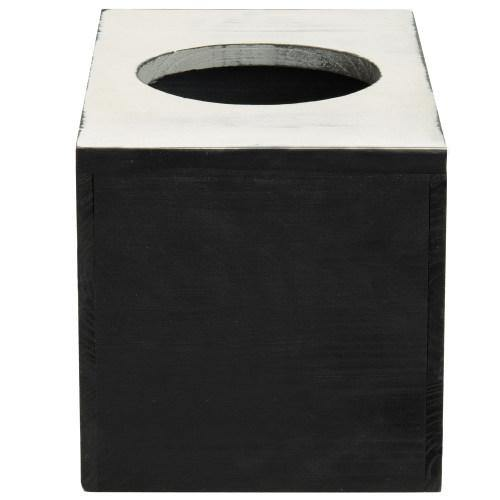 Black & White Wood Square Tissue Box Cover-MyGift