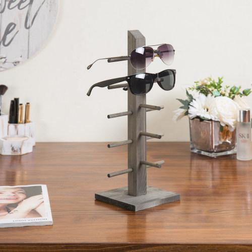 5-Pair Sunglass/Jewelry Display Stand, Gray Wood
