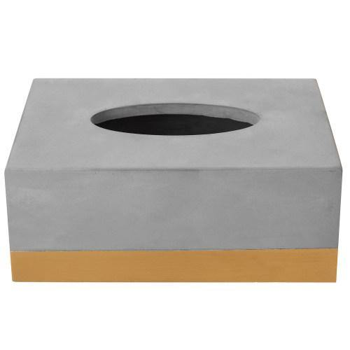 Modern Gold Tone and Gray Cement Tissue Box Cover - MyGift