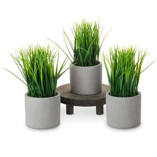 Artificial Grass in Modern Gray Cement Planter, Set of 3-MyGift