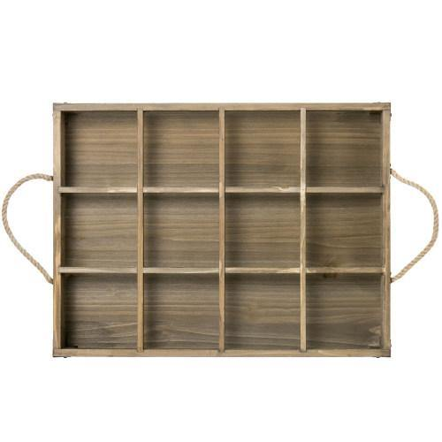 Distressed Wood  12 Slot Tray w/ Corner Wraps & Rope Handles - MyGift