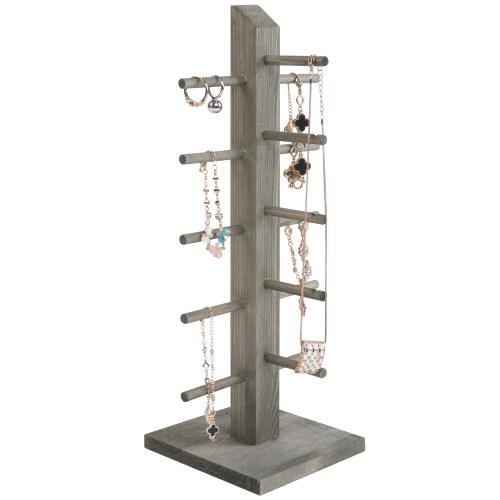5-Pair Sunglass/Jewelry Display Stand, Gray Wood - MyGift