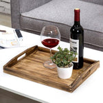 Coffee-Colored Dark Brown Rustic Wood Serving Tray