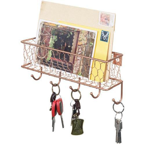 Copper Chicken Wire Mesh Mail Sorter w/ Hooks-MyGift