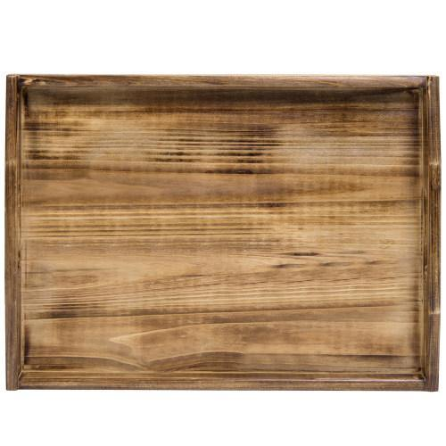 Coffee-Colored Dark Brown Rustic Wood Serving Tray-MyGift