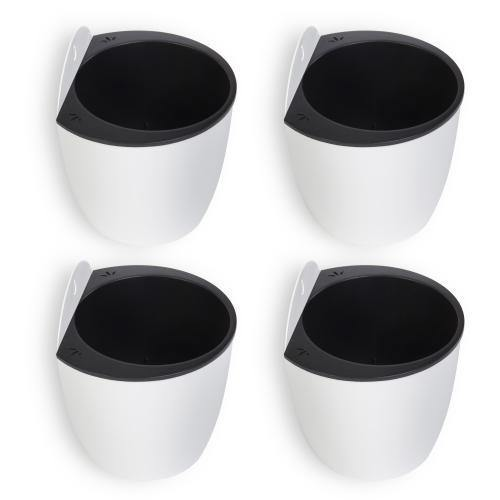 Wall Mounted Self Watering White Planter Pots, Set of 4 - MyGift