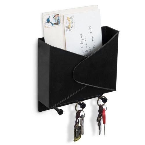 Industrial Style Black Metal Mail Organizer Rack with Hooks-MyGift