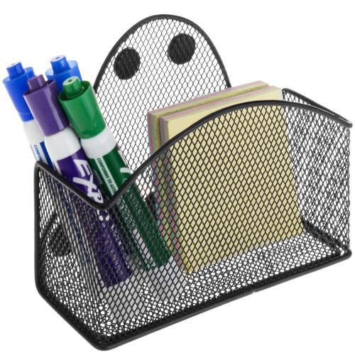 Magnetic Black Metal Mesh Storage Basket for Office Supplies