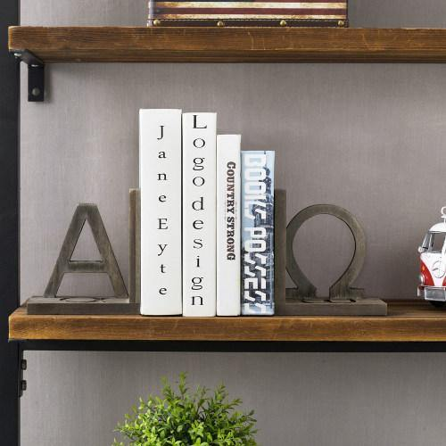 Gray Wood and Black Metal Alpha and Omega Bookends, Set of 2