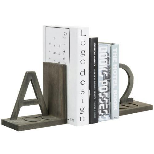Gray Wood and Black Metal Alpha and Omega Bookends, Set of 2-MyGift