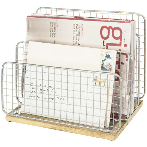 Rustic Brown Burnt Wood & Silver Metal Wire Document/Mail Organizer-MyGift