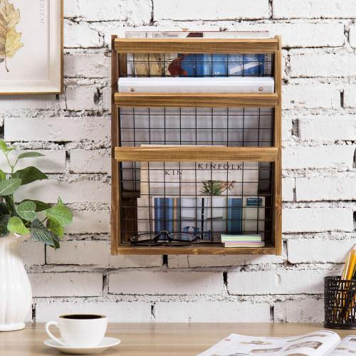 Rustic Burnt Wood and Metal Document/Magazine Organizer