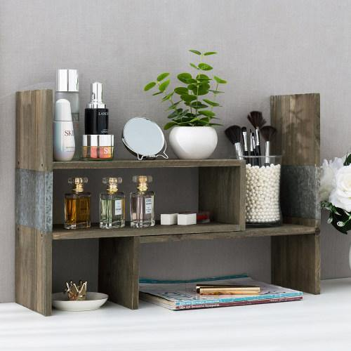 Vintage Style Rustic Brown Wood and Galvanized Metal Shelf-MyGift