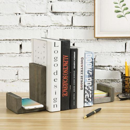 Gray Solid Wood Bookends with Brass Tone Metal Supports