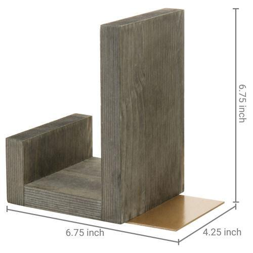 Gray Solid Wood Bookends with Brass Tone Metal Supports - MyGift