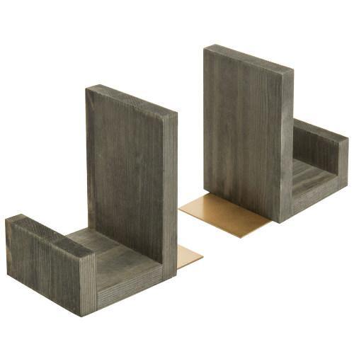 Gray Solid Wood Bookends with Brass Tone Metal Supports-MyGift