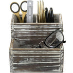 Rustic Torched Wood Office Supply Holder-MyGift