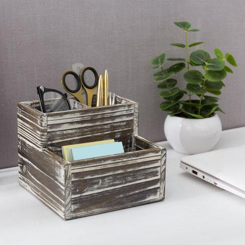 Rustic Torched Wood Office Supply Holder