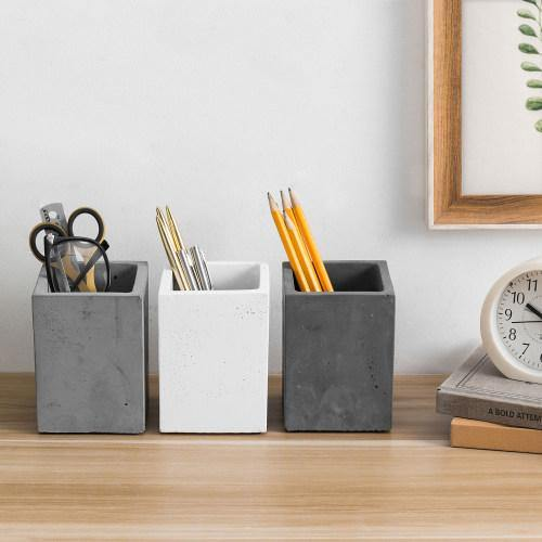 Modern Gray Concrete Pencil Cups, Set of 3