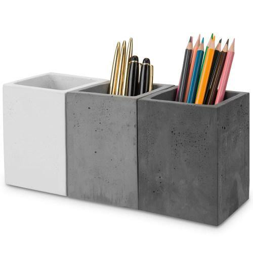 Modern Gray Concrete Pencil Cups, Set of 3-MyGift