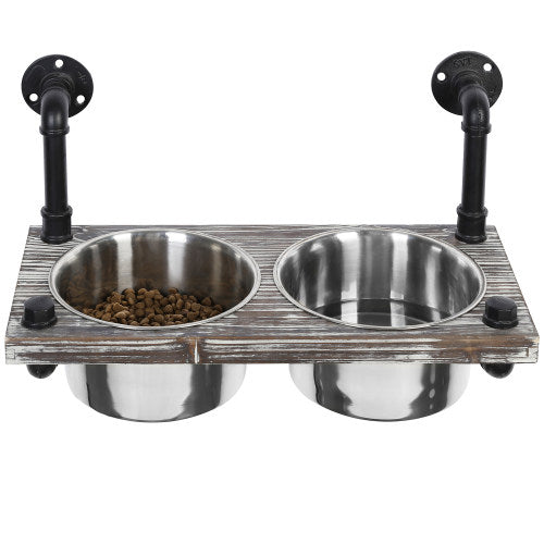 Wall-Mounted Torched Wood & Industrial Pipe Dog Feeder w/ Stainless Steel Bowls