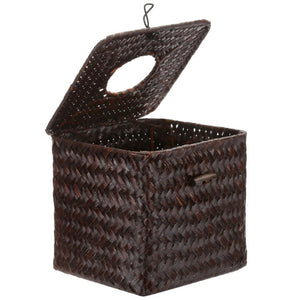 Woven Brown Seagrass Tissue Box w/Hinged Top Lid-MyGift